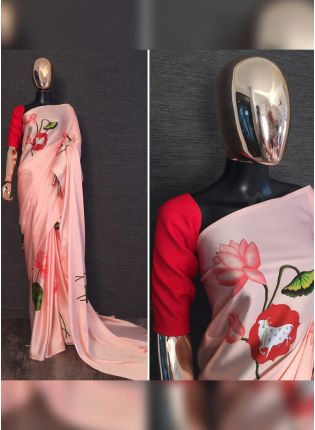 Shop Tempting Peach Satin Base Festive Wear Digital Printed Saree