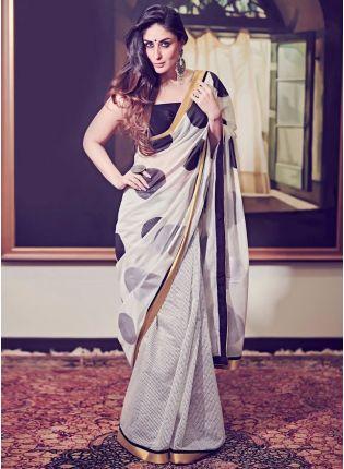 Shop Splendid White Cotton Base Designer Wedding Wear Saree