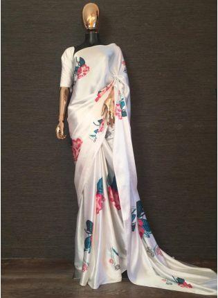 Shop Impressive White Satin Base Digital Printed Designer Saree