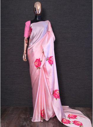 Shop Outstanding Barbie Pink Satin Base Digital Printed Saree