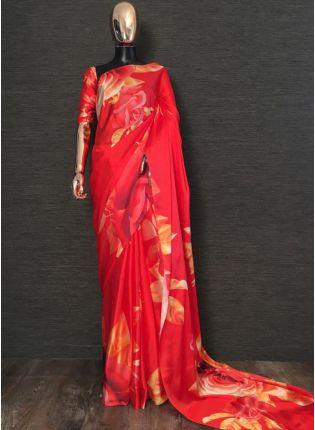 Shop Adorable Strawberry Red Satin Base Digital Printed Saree
