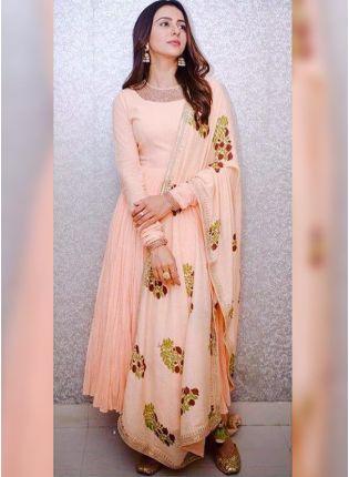 Purchase Peach Resham And Georgette Reception Anarkali Churidar Suit