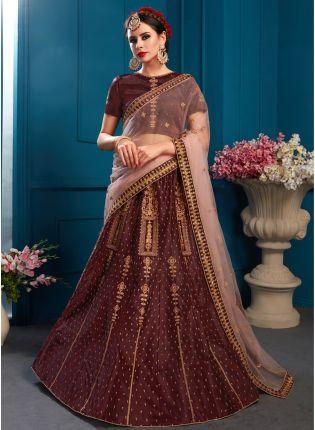 Buy Wonderful Brown Color Satin Base Embroidered Lehenga Choli
