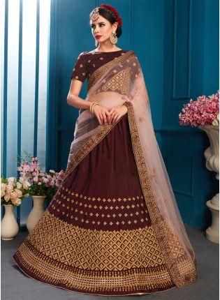 Best Elegant Brown Color Designer satin Base Lehenga Choli