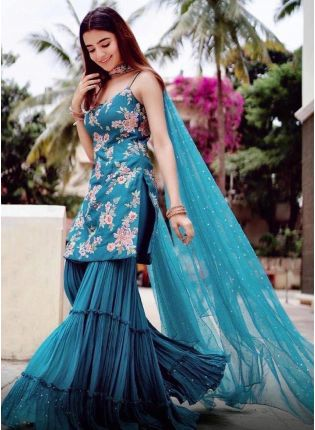 Buy Beautiful Peacock Blue Color Silk base With Heavy Work Sharara Suit
