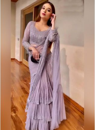 Designer Lilac Color Georgette Base With Sequins And Embroidery Work Party Wear Saree