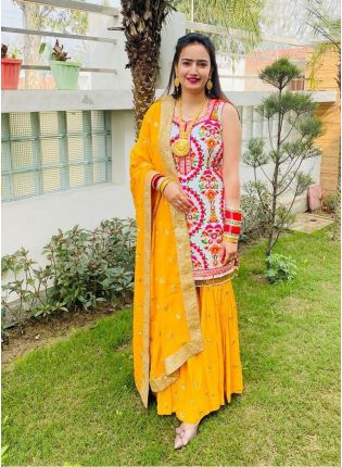 Fancy Look Georgette Base Multi-color Suit With Yellow Color Sharara Set