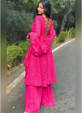 Neon Pink Color Georgette Base With Heavy Work Palazzo Salwar Suit