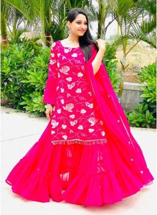 Ravishing Pink Color Georgette Base Palazzo Salwar Suit
