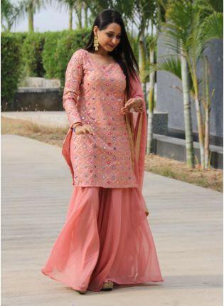 Fabulous Blush Peach Color Georgette Base Sharara Suit