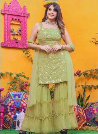 Stunning Olive Green Color Georgette Base Sharara Salwar Suit