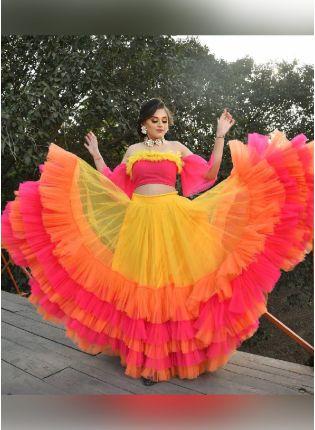 Wonderful Multi-color Soft Net Base Ruffle Lehenga Choli