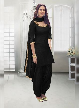 Splendid Black Zari Work And Rayon Straight Fit Salwar Suit