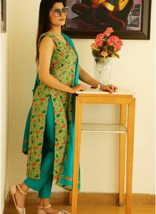 Iconic Green Digital Print And Cotton Pant Style Salwar Suit