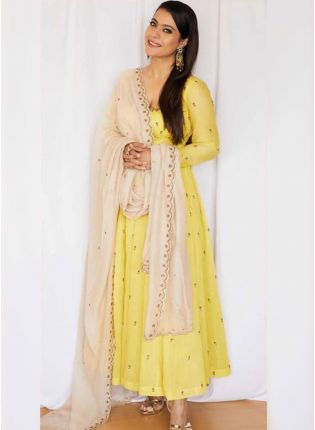 Shop Yellow Zari Georgette Ceremonial Anarkali Churidar Salwar Suit