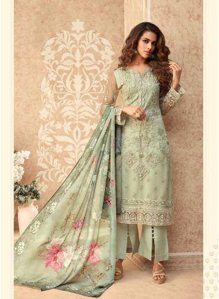 girl in Glowing Green Straight Salwar Suit