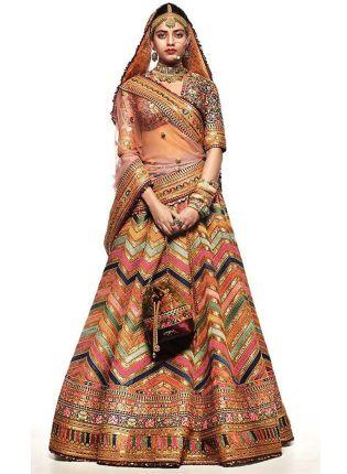 Top Multi Color Digital Print Tafetta Silk Flared Bollywood Wedding Lehenga Choli