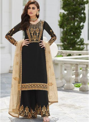 Decent Black Zari Stone And Georgette Party Wear Pakistani Palazzo Suit