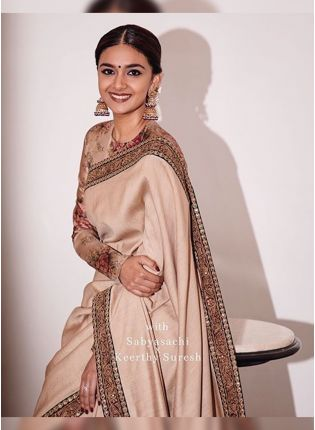 Shop Beige Digital Print Silk Embroidered Bollywood Saree