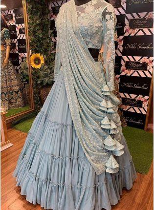 Splendid Blue Sequin Resham And Georgette Ruffle Flared Lehenga Choli For Sangeet