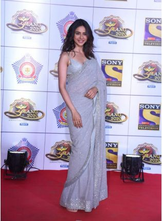 Iconic Grey Sequin Georgette Party Wear Embroidered Saree