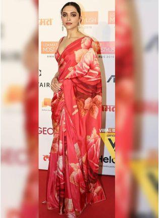 Stylish Red Digital Print Art Silk Casual Bollywood Saree