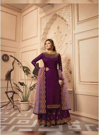 Top Purple Zari Resham Satin Georgette Sangeet Pant Style Salwar Suit