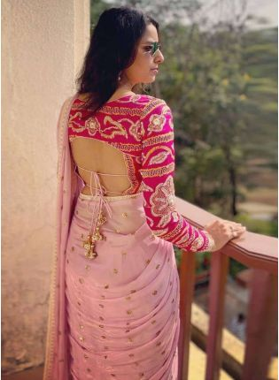 Affordable Baby Pink Sequin Georgette Embroidered Saree For Wedding