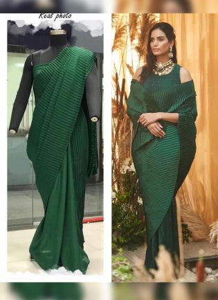 Green Color Pleating Look Designer Saree With Matching Blouse