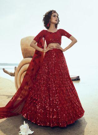 Modish Bright Red Soft Net Base Sequin Work Lehenga Choli