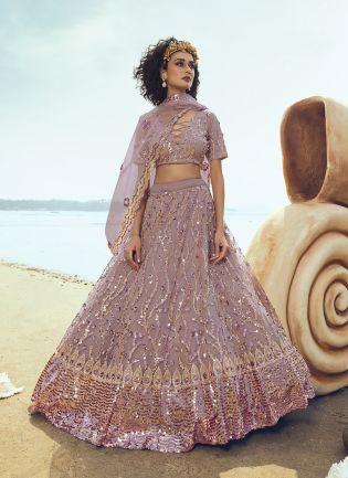 Charming Lilac Soft Net Base Ceremonial Wear Lehenga Choli