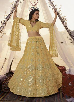 Sunshine Yellow Foil Mirror Resham Lehenga Choli Set