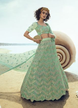 Splendid Sea Green Soft Net Base Sequin Work Lehenga Choli