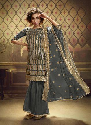Grey Net with Exotic Golden Sequins Sharara Salwar Suit