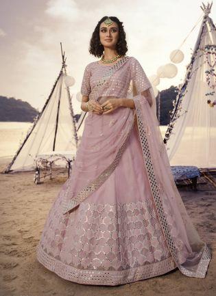 Serene Baby Pink Foil Mirror Work Organza Lehenga Choli Set
