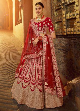 Delightful Red Velvet Base Embroidered Bridal Lehenga Choli