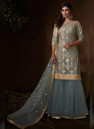 Charming Slate Grey Festive Wear Soft Net Base Sequin Sharara Suit