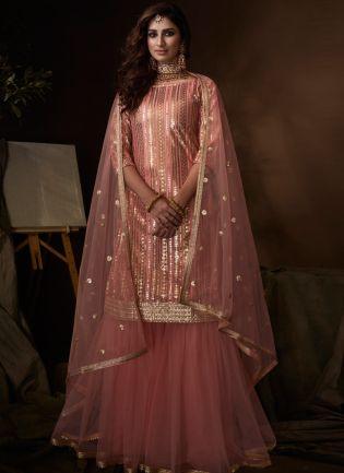 Elegant Peach Pink Soft Net Base Festive Wear Sequin Sharara Suit