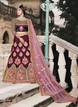 Wine Colored Wedding Wear Silk Lehenga Choli