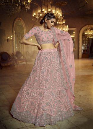 Astonishing Pink Dori Zarkan Soft Net Lehenga Choli Set
