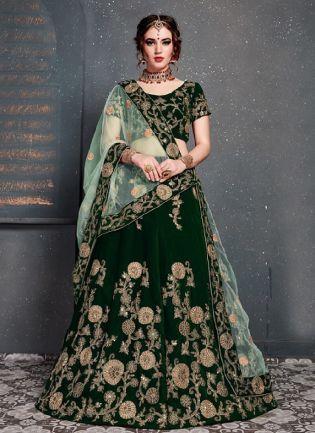 Appealing Dark green Color With Velvet Base Lehenga Choli