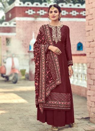 Decent Maroon Color With Embroidery Work Palazzo Suit