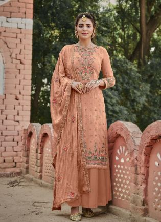 Magnificent Peach Color With stone Work Sharara Suit