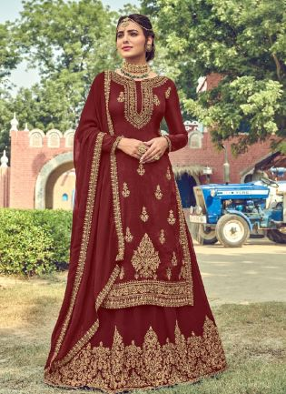Fascinating Marron Color With Heavy Embroidery Work long choli lehenga