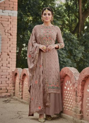 Cool Purple Color With Stone Work Sharara Suit