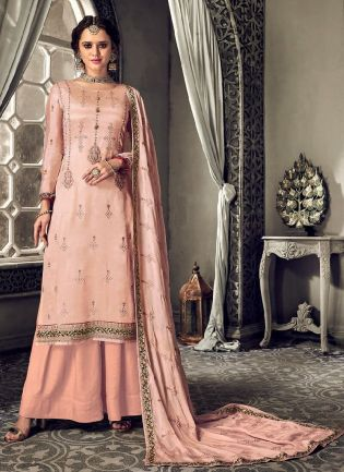 Splendid Peach Color With Heavy Embroidery Work Salwar Kameez