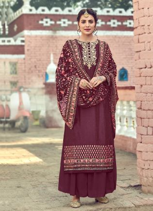 Eye-opening Wine Color With Embroidery Work Salwar Kameez