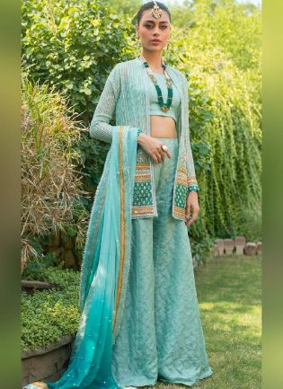 Admirable Sky Blue Color Georgette Base Jacket Style Palazzo Suit