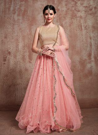 Elegant Baby Pink Color Soft Net Flared Lehenga Choli For Your Reception