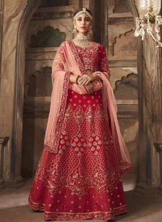 Admirable Red Color Lehenga Choli With Mirror And Stone Work